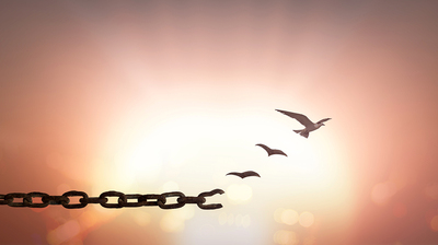 Chain that has a broken link with birds flying up and away.