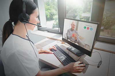 Woman using a headset.